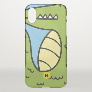 Monogram. Cute Green Doodle Crocodile. iPhone X Case