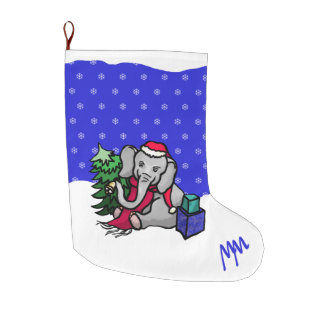 Monogram Cute Holidays Elephant in Snow Large Christmas Stocking
