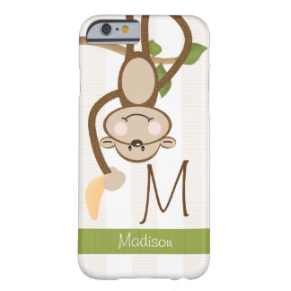 Monogram Cute Monkey Barely There iPhone 6 Case