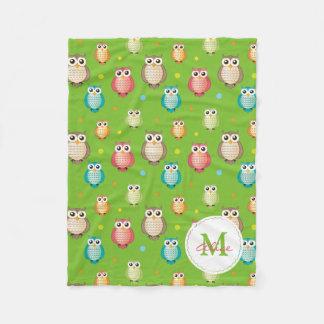 Monogram Cute Owls Pattern Fleece Blanket