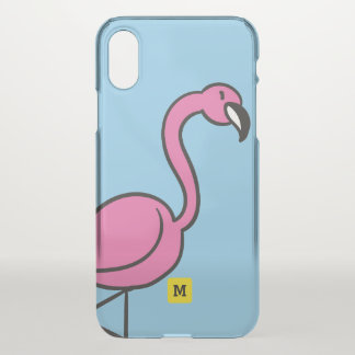Monogram. Cute Pink Doodle Flamingo. iPhone X Case