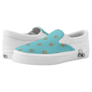 Monogram. Cute Puppy Dog Cat Paws. Slip-On Shoes