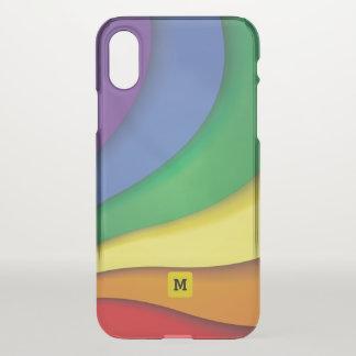 Monogram. Cute Rainbow Colors. iPhone X Case