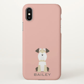 Monogram. Cute Terrier Puppy Dog. iPhone X Case