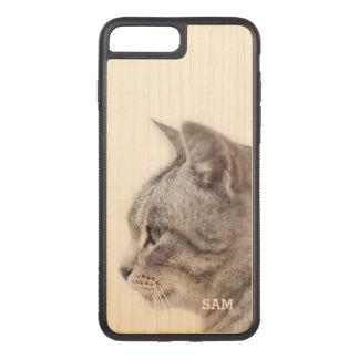 Monogram. Cute White & Gray Cat. Carved iPhone 8 Plus/7 Plus Case