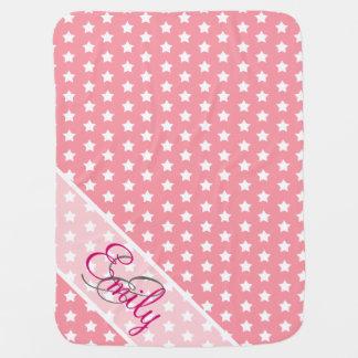 Monogram Cute White Stars Pattern Girly Pink Pramblankets