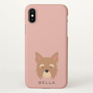 Monogram. Cute Yorkie Puppy Dog. iPhone X Case