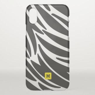 Monogram. Cute Zebra Stripes Safari Pattern. iPhone X Case