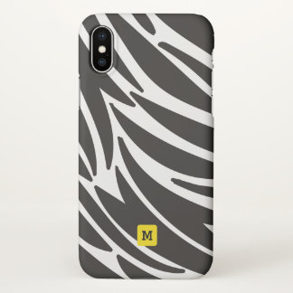 Monogram. Cute Zebra Stripes Safari Pattern iPhone X Case