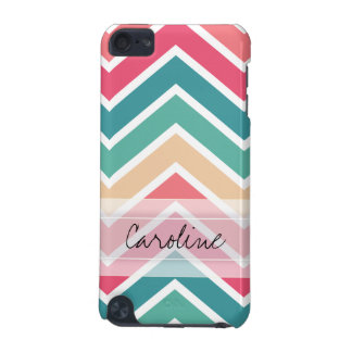 Monogram Cyan Peach Reds Geometric Chevron Pattern iPod Touch 5G Cover