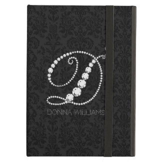 Monogram D-Black Damasks & White Diamonds iPad Air Case