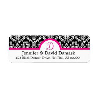 Monogram D Damask White Address Labels