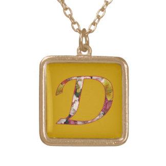 Monogram D Floral Design Initial Necklace