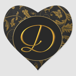 Monogram D Gold and Black Damask Wedding Seal Heart Sticker