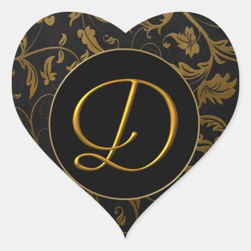 Monogram D Gold and Black Damask Wedding Seal Heart Sticker