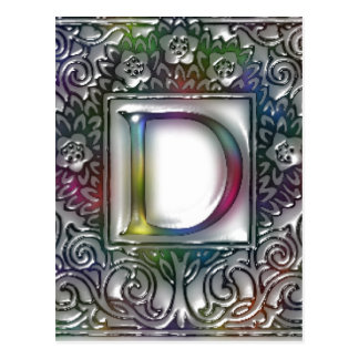 Monogram D- Stained Glass Postcard