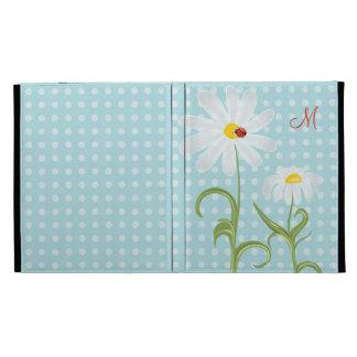 Monogram Daisies and Lady Bug Polka Dot Blue iPad Case