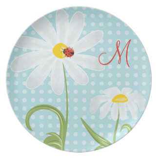 Monogram Daisies and Lady Bug Polka Dot Blue Plate