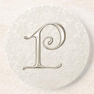 Monogram Damask coasters - letter P