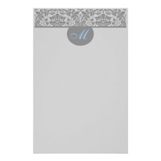 Monogram Damask Color Select Stationery