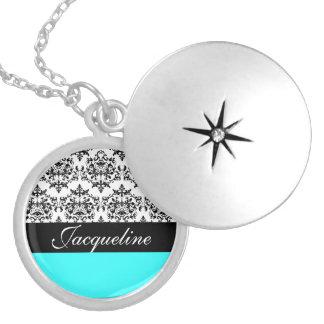 Monogram damask girls name round locket necklace
