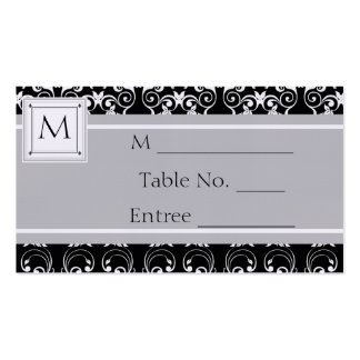 Monogram Damask Invitations Place Card Business Card Template
