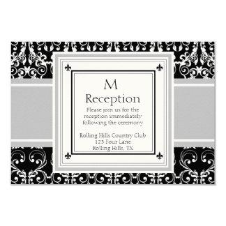 "Monogram Damask Invitations Reception Card 3.5"" X 5"" Invitation Card"