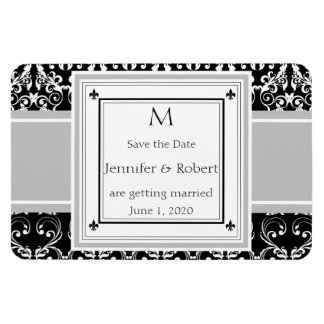 Monogram Damask Invitations Save the Date Magnet