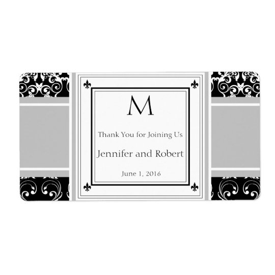 Monogram Damask Invitations Water Bottle Label Shipping Label
