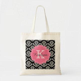 Monogram Damask Pattern with Pink Custom Tote Bag