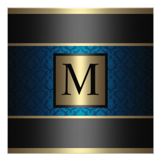 Monogram Damask Royal Blue Black and Gold Custom Announcement