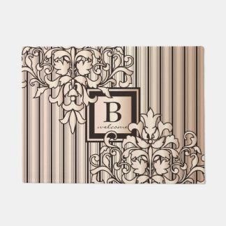 Monogram Damask Stripes Girly Neutral Monochrome Doormat