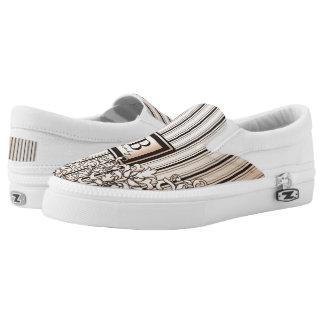 Monogram Damask Stripes Girly Neutral Monochrome Slip-On Shoes