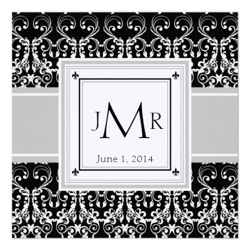 Monogram Damask Wedding Invitation