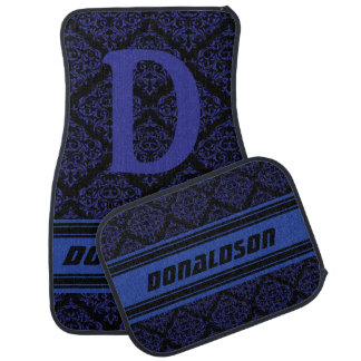 Monogram Dark Blue & Black Damask | DIY Name Car Mat