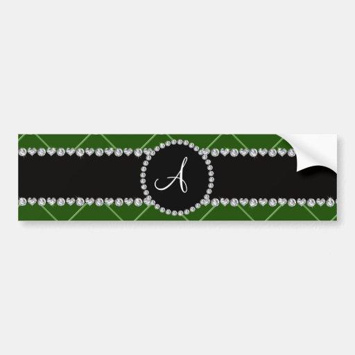 Monogram dark green tuft diamonds bumper sticker