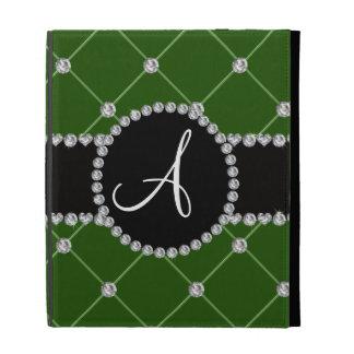 Monogram dark green tuft diamonds iPad folio cases