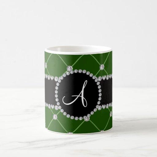 Monogram dark green tuft diamonds mug