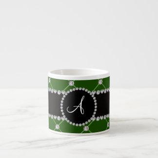 Monogram dark green tuft diamonds 6 oz ceramic espresso cup