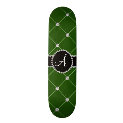 Monogram dark green tuft diamonds skate board deck