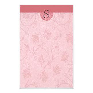 Monogram Dark Pink Floral Stationery