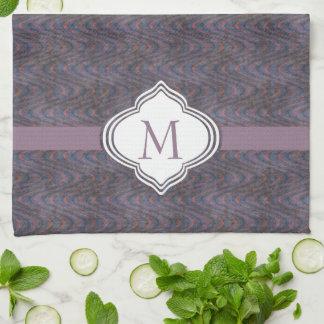 Monogram Dark Purple Grunge Waves Tea Towel