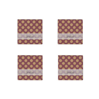 Monogram Dark Red Pale Orange Polka Dot Pattern Stone Magnet