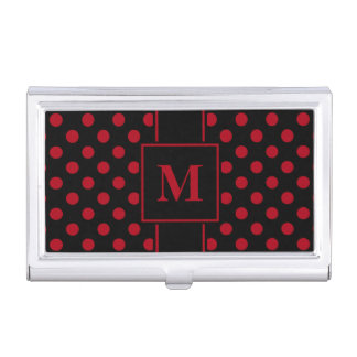 Monogram Dark Red Polka Dot on Black Business Card Holder