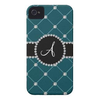 Monogram dark teal tuft diamonds iPhone 4 cover
