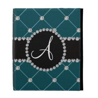 Monogram dark teal tuft diamonds iPad case