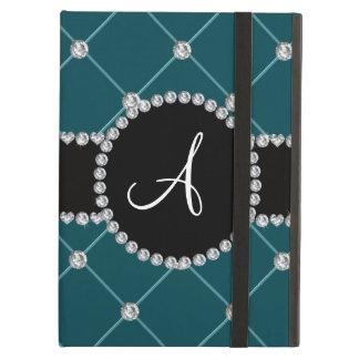Monogram dark teal tuft diamonds case for iPad air