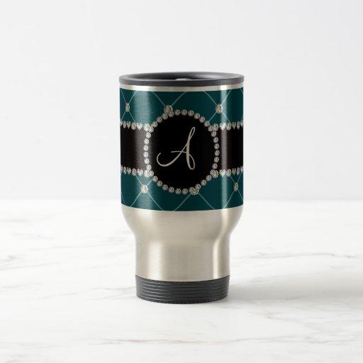 Monogram dark teal tuft diamonds coffee mug
