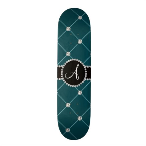 Monogram dark teal tuft diamonds skateboard deck