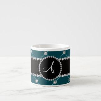 Monogram dark teal tuft diamonds espresso mugs